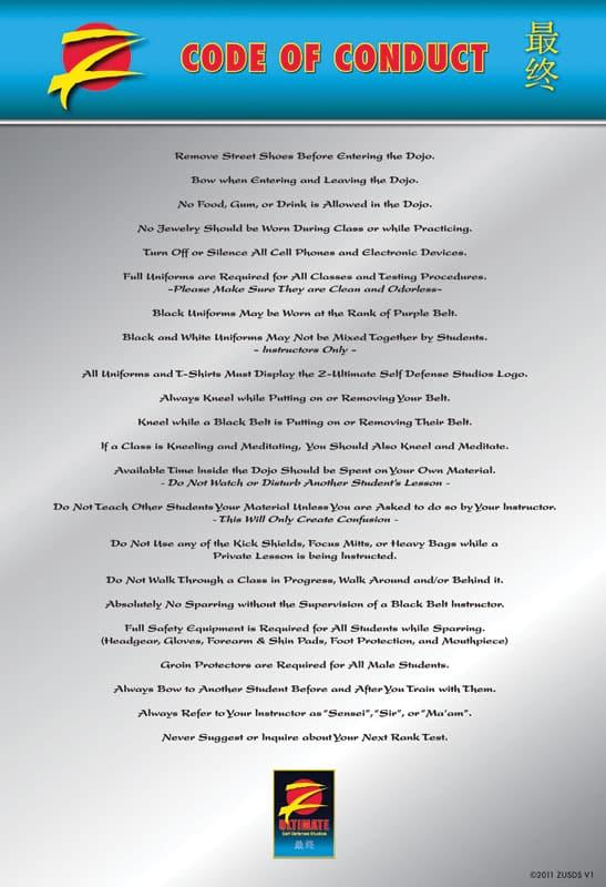 Z-Ultimate Self Defense Studios Code of Conduct
