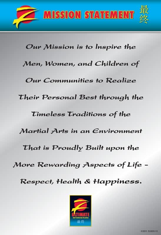 Z-Ultimate Self Defense Studios Mission Statement