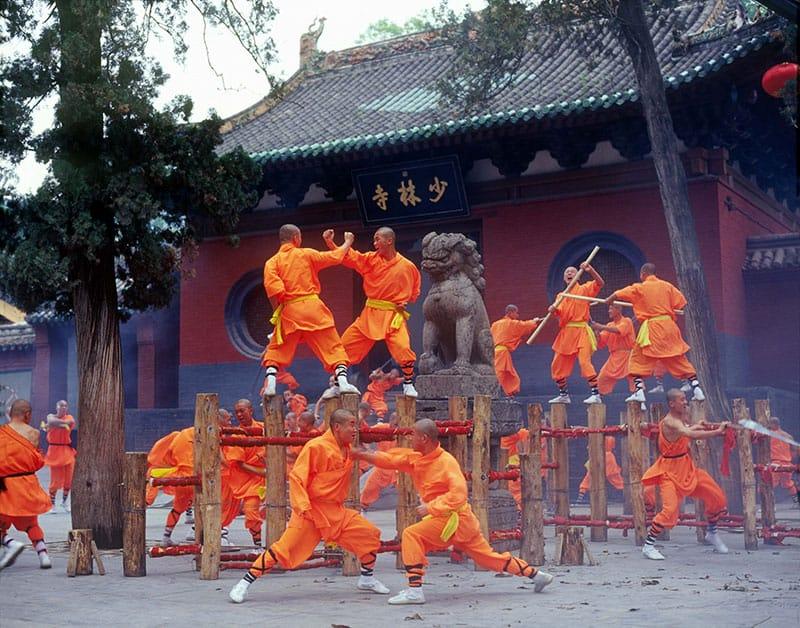 Shaolin-Monks-in-Orange-Robes